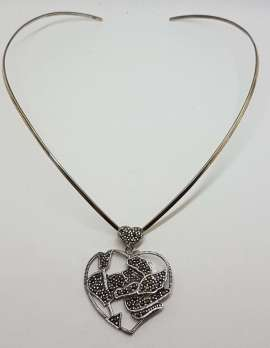 Sterling Silver Marcasite Large Heart with Cupid Pendant on Silver Choker Chain / Necklace