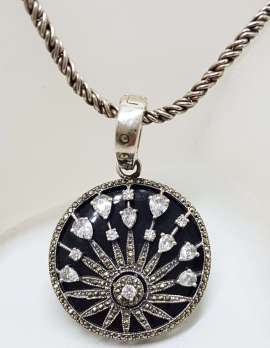 Sterling Silver Marcasite with Onyx and Cubic Zirconia Large Round Starburst Enhancer Pendant on Long Silver Chain / Necklace