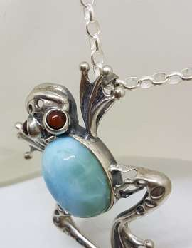 Sterling Silver Large Larimar Frog with Amber Eyes Pendant on Silver Chain