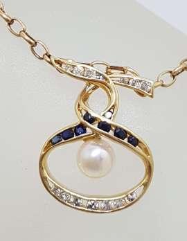 14ct Yellow Gold Sapphire, Diamond & Pearl Twist Design Pendant on 9ct Gold Chain
