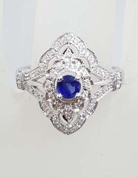 9ct White Gold Diamond and Sapphire Ornate Elongated Ring