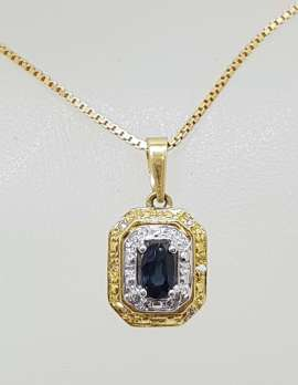 18ct Yellow Gold Natural Sapphire and Diamond Pendant on Gold Chain