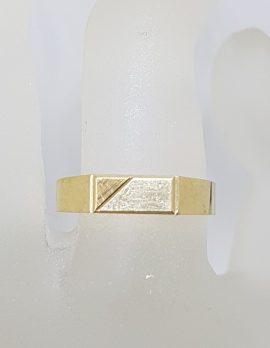 9ct Yellow Gold Rectangular Signet Band Gents Ring - Vintage