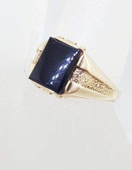 9ct Yellow Gold Rectangular Onyx Gents Ring - Antique / Vintage