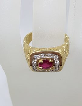 10ct Yellow Gold Red and Clear Cubic Zirconia Gents Ring - Vintage