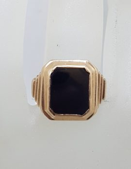 9ct Rose Gold Large Rectangular Onyx Signet Ring - Antique / Vintage - Ladies / Gents Ring