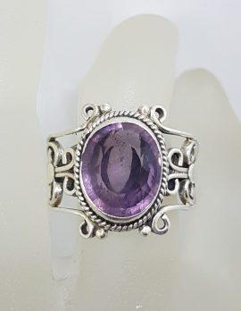 Sterling Silver Large Oval Filigree Design Amethyst Ring