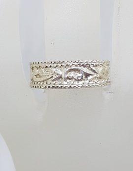Sterling Silver Ornate Rectangular Wedding Band Ring - Gents / Ladies - Vintage