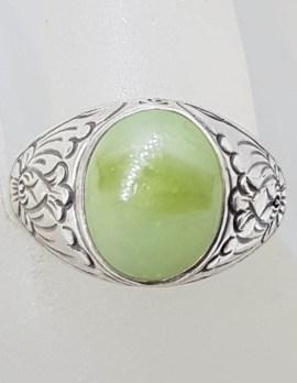 Sterling Silver Large Oval Ornate Design Jade Ring - Gents / Ladies