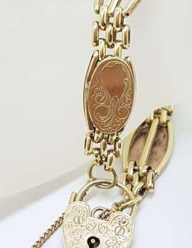 9ct Yellow Gold Ornate Oval and Gate Link Design Heart Padlock Bracelet - Heavy - Antique / Vintage