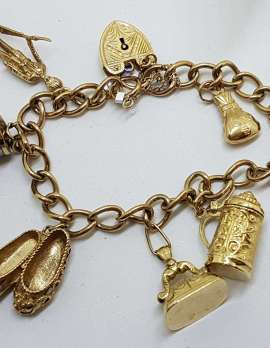 9ct Yellow Gold Charm Bracelet with Heart Padlock - Includes Bank Note Charms - Antique / Vintage