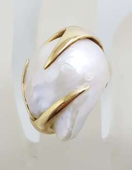 14ct Yellow Gold Large Baroque Pearl & Ruby Ring – Handmade