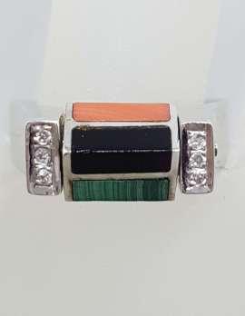 """White Gold """"Spinner"""" Ring Set with Diamonds, Malachite, Lapis Lazuli, Coral & Onyx."""