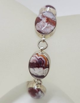 Sterling Silver Red Crazy Lace Agate Bracelet