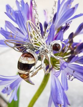 Sterling Silver Large Natural Baltic Amber Bee / Wasp Pendant on Silver Chain