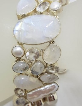Sterling Silver Large / Wide Moonstone, Pearl, Clear Quartz Chunky Cluster Bracelet