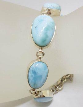 Sterling Silver 5 Stone Larimar Bracelet *SOLD*
