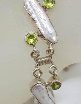 Sterling Silver Peridot & Blister Pearl Bracelet
