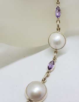 Sterling Silver Mabe Pearl with Marquis Shape Amethyst Bracelet