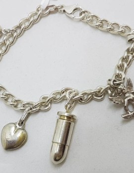Sterling Silver Vintage Charm Bracelet with 6 Assorted Charms