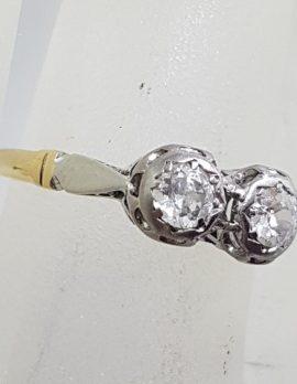 18ct Yellow Gold Two Diamond Moi et Toi Engagement / Dress Ring - Antique / Vintage