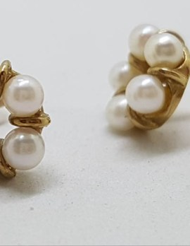 9ct Yellow Gold Round Pearl Cluster Stud Earrings - Vintage