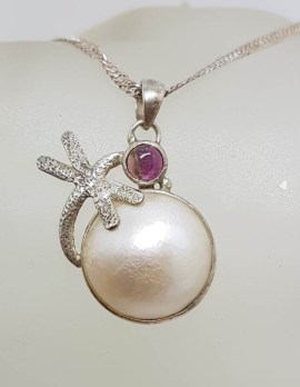 Sterling Silver Round Mabe Pearl with Pink Tourmaline Dragonfly Pendant on Silver Chain