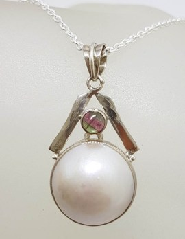 Sterling Silver Round Mabe Pearl with Tourmaline Pendant on Silver Chain