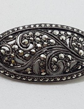 Sterling Silver Marcasite Beautiful Ornate Oval Brooch - Vintage / Antique