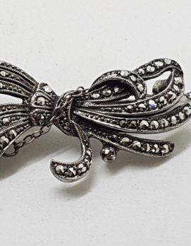 Sterling Silver Vintage Marcasite Large Ornate Bow Design Brooch