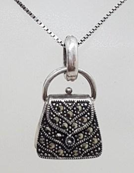 Sterling Silver Vintage Marcasite Handbag / Bag Pendant on Chain