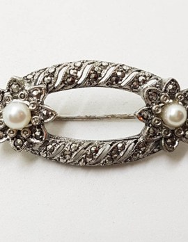 Sterling Silver Ornate Marcasite and Pearl Oval Floral Brooch - Vintage