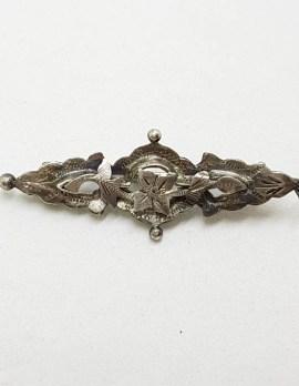 Sterling Silver Vintage Ornate Bar Brooch