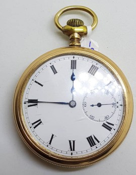 Sterling Silver Gold Plated Fob / Pocket Watch Shield Motif - Antique / Vintage