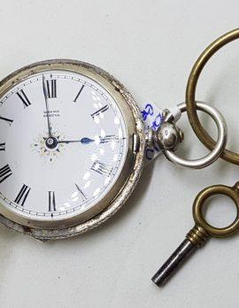Sterling Silver Fob / Pocket Watch Ornate Floral Motif - Geneva - Antique / Vintage