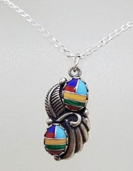 Sterling Silver Multi-Colour Enamel Pendant on Silver Chain
