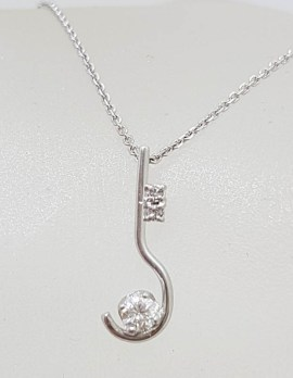 18ct White Gold Diamond Twist Pendant on 9ct Gold Chain