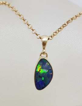 9ct Yellow Gold Bezel Set Multi Colour Opal Pendant on Gold Chain - Cooper Pedy