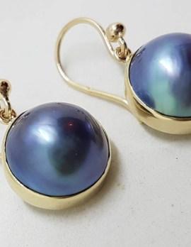 9ct Yellow Gold Bezel Set Round Dark Blue / Black Mabe Pearl Drop Earrings