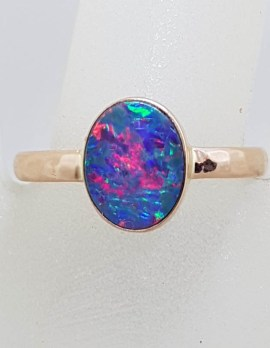 9ct Rose Gold Oval Blue with Multi-Colour Opal Ring - Cooper Pedy - Beaten Design Band