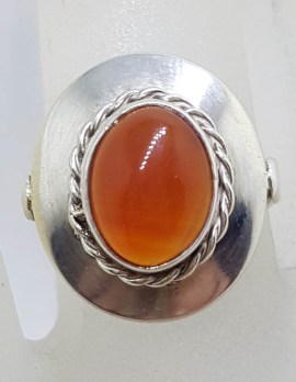 Sterling Silver Vintage Oval Carnelian Ring