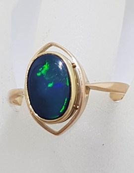 9ct Rose Gold Oval Opal Ring - Antique / Vintage