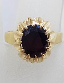 9ct Yellow Gold Basket / Claw Set Large Oval Garnet Ring - Antique / Vintage