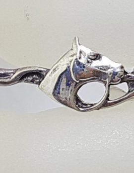 Sterling Silver Horse Head on Riders Crop / Whip Brooch - Equestrian