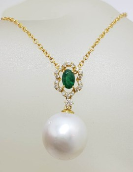 18ct Gold Emerald, South Sea Pearl and Diamond Drop Pendant on 9ct Chain