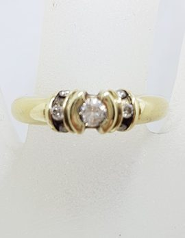 9ct Yellow Gold Diamond Bezel Set and Channel Set Diamond Ring