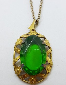 Plated / Lined Ornate Oval Green Stone Pendant on Chain - Antique / Vintage