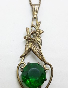 Plated / Lined Ornate Floral Heather Green Stone Pendant on Chain - Antique / Vintage