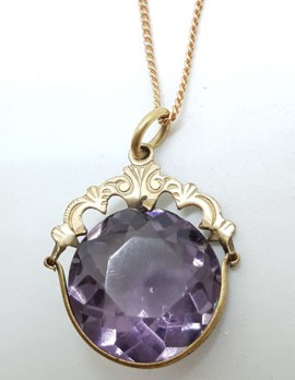 Plated / Lined Ornate Round Purple Stone Pendant on Chain - Antique / Vintage