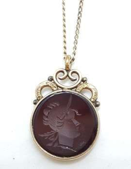 Lined / Plated Ornate Round Intaglio Seal Pendant on Chain - Antique / Vintage